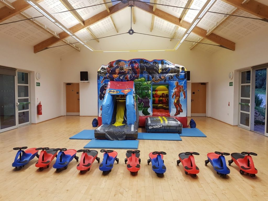 Deluxe Superhero Bouncy Castle Package Hire In Newton Abbot, Covering Torbay, Paignton, Totnes & Exeter